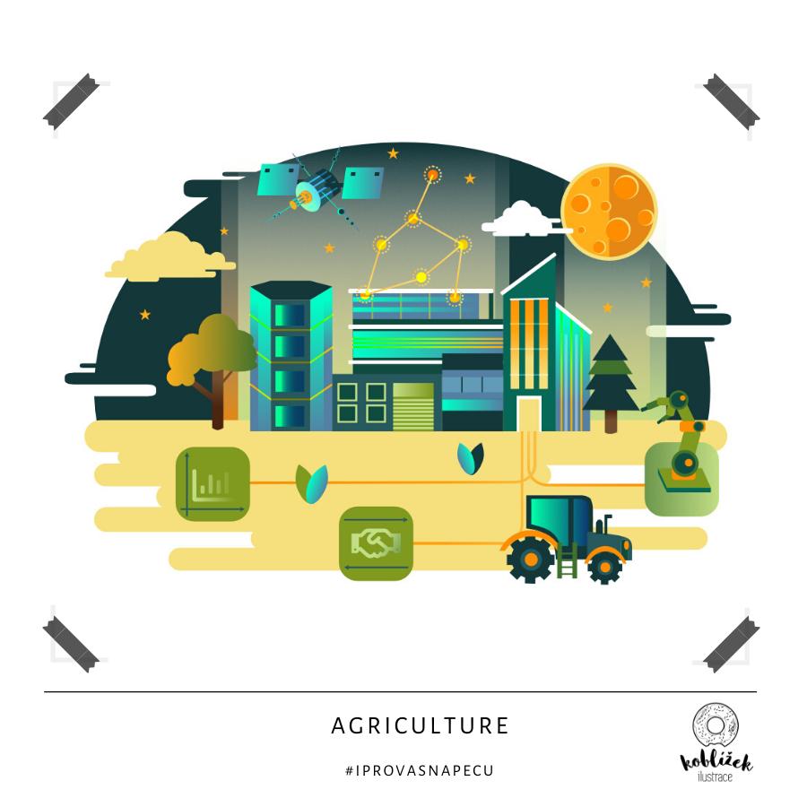 Agrikultura Zemědělství Agriculture Ilustrace