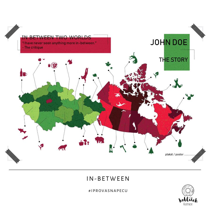 Kanada Čechy Mapa Ilustrace Plakát