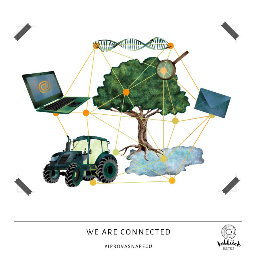We are connected Zemědělství Propojenost ilustrace