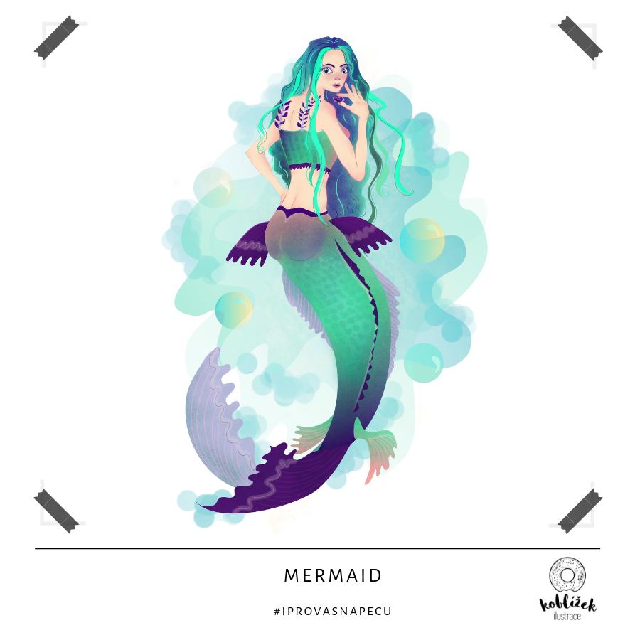 Mermaid Mořská panna Ilustrace