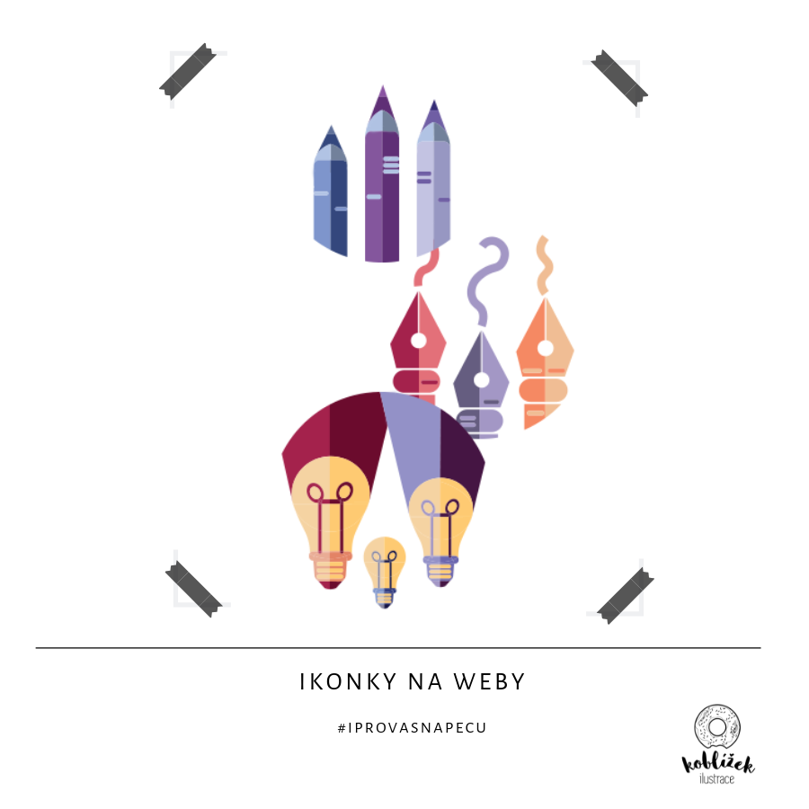 Ilustrace ikony webové dekorace žárovka, pero, tužky