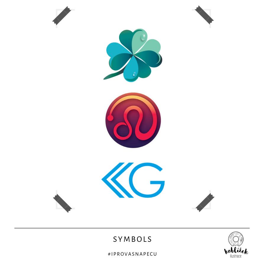 Různé symboly návrh čtyřlístek abstraktní