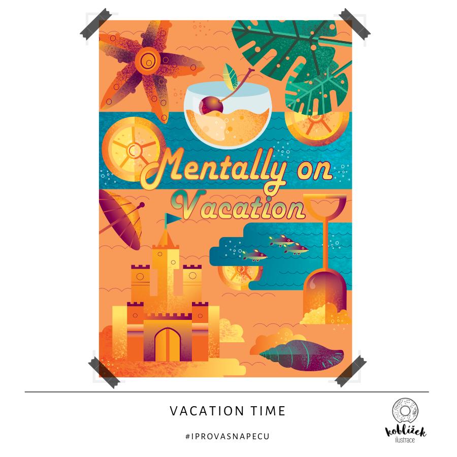 Mentally on Vacation plakát ilustrace
