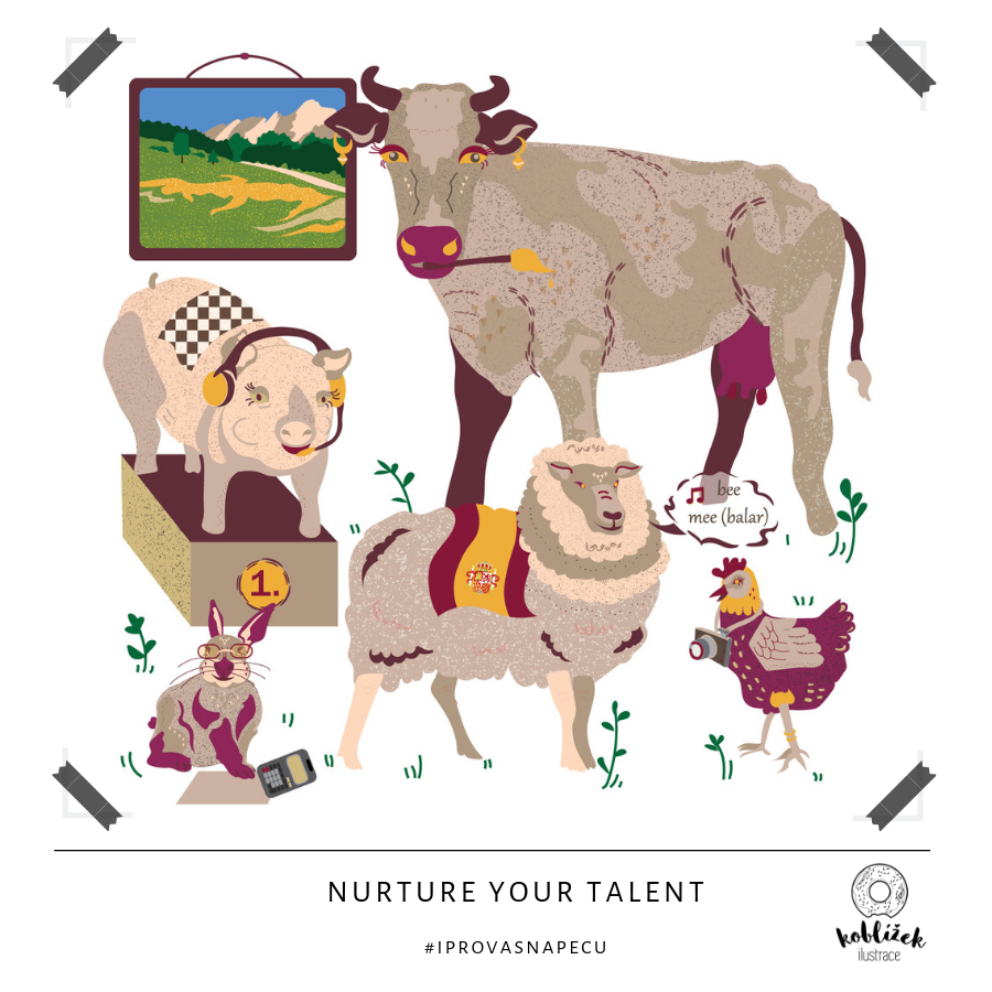 Nurture your talent Zvířata ilustrace